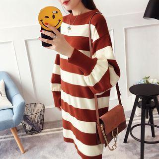 Striped Balloon-sleeve Sweater Dress