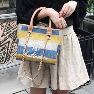 Chain Strap Color Block Lettering Cross Bag