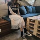Long-sleeve Midi Lace Dress / Patterned Knit Vest