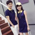 Couple Matching Color Panel Short Sleeve Polo Shirt/ Sleeveless Polo Shirt Dress