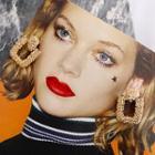 Rhinestone Square Earrings Gold - One Size
