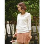 Inset Shorts Linen Mini Pleat Skirt