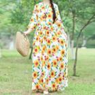 Flower Print 3/4-sleeve Maxi A-line Dress