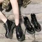 Faux Leather Platform Ankle Boots