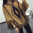 Patterned Fringe Hem Sweater