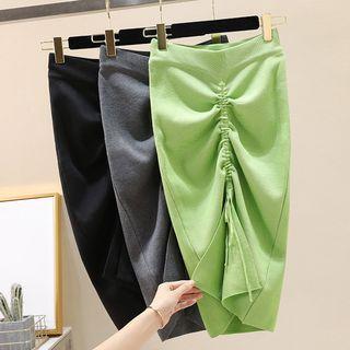 High-waist Drawstring Knit Pencil Skirt