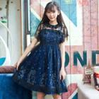 Set: Star Print Strappy Dress + Sheer Lace Short-sleeve Dress