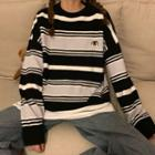 Long-sleeve Striped Penguin Embroidered Knit Top