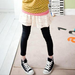 Inset Lace Skirt Leggings