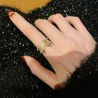 Butterfly Rhinestone Ring Open Ring - One Size