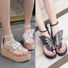 Cutout Butterfly Wedge Sandals