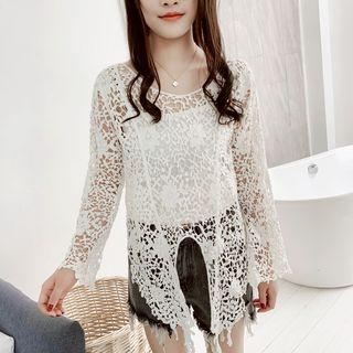 Long-sleeve Perforated Lace Front Knot Top