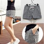 Checked Drawstring Shorts