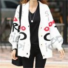 V-neck Letter Print Cardigan White - One Size