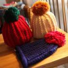 Furry Ball Knit Beanie