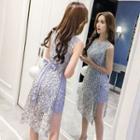 Striped Sleeveless Lace Dress
