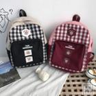 Pig Applique Canvas Backpack