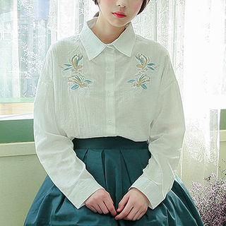 Flower Embroidered Shirt White - One Size