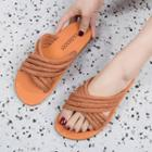 Crossover Braided Strap Slippers