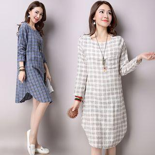 Plaid Long Sleeve Midi Dress