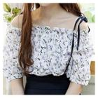 Off-shoulder Floral-patterned Blouse