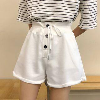 Drawstring Buttoned Shorts