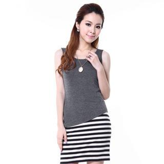 Sleeveless Striped Panel Dress
