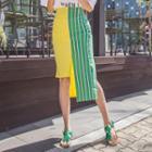 Printed Asymmetric-hem Midi Skirt