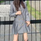 Pleated Hem Double-breasted Blazer Dress Gray - One Size