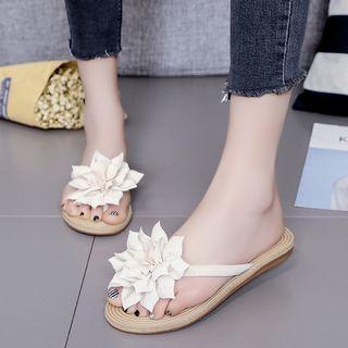 Floral Accent Flip Flops