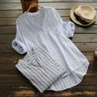 Stand Collar Striped Blouse