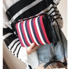 Tasseled Pinstripe Shoulder Bag
