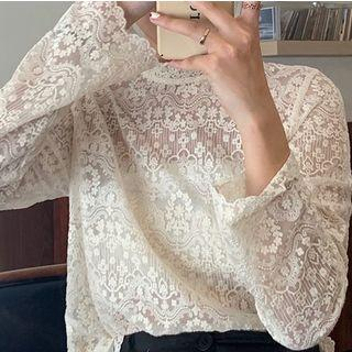 Mock-neck Embroidered Long-sleeve Top Off-white - One Size