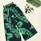 Leaf Print Wide-leg Pants