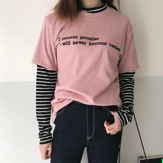 Letter Stripe Panel Long-sleeve Top