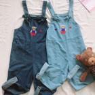 Bear Embroidered Denim Jumper Pants