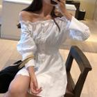 Cold Shoulder Long-sleeve Shirt Dress White - One Size