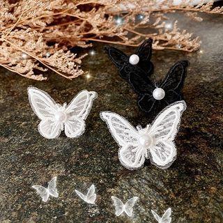 Faux Pearl Lace Butterfly Earring