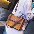 Faux Leather Twist Lock Stitched Crossbody Bag