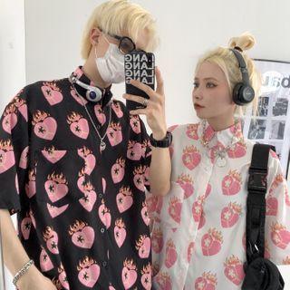 Couple Matching Short-sleeve Heart Print Shirt