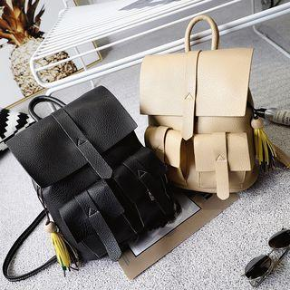Pocketed Faux Leather Backpack