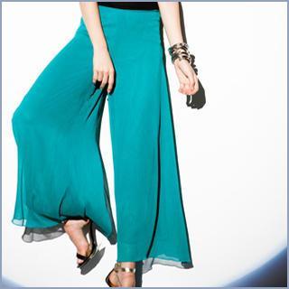 Wide-leg Chiffon Pants
