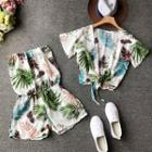 Set: Leaf Print Strapless Playsuit + Short-sleeve Open Front Jacket
