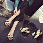Faux Pearl Braid Strap Slide Sandals