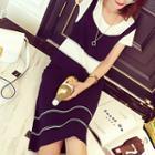 Set: Colour Block Knit Vest + Skirt