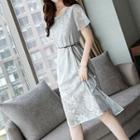 Set: Mesh Short-sleeve A-line Dress + Spaghetti Strap Dress