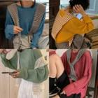 Long-sleeve Knit Sweater / Striped Shawl