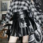Faux Leather Buckled Pleated Mini A-line Skorts