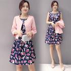 Set : Plain Bolero + Floral Print Sleeveless Dress