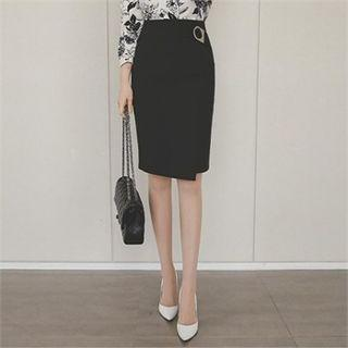 Buckled-trim Pencil Skirt